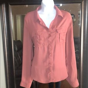 Long Sleeve Collared Button Down Blouse Large